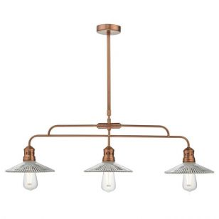 Dar Adeline 3 Light Bar Ceiling Pendant - Copper