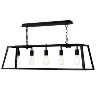 Dar Academy 5 Light Bar Ceiling Pendant - Black