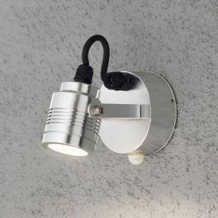 Konstsmide Monza 3W LED Outdoor Wall Mounted Spotlight with PIR Sensor - Stainless Steel