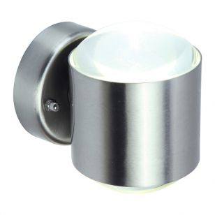 Lutec Crystal LED Outdoor Up & Down Wall Light - Stainless Steel