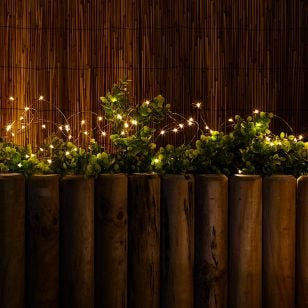 Solar Warm White LED Micro Copper Wire Fairy Lights - 50 Lights