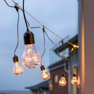 Konstsmide 14.5M LED Clear GLS Black Hanging Festoon Lights - 10 Lights