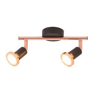 Edit Valentine 2 Light Spotlight Bar - Black and Copper