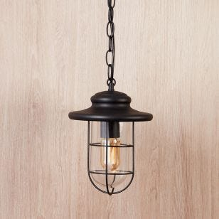 Edit Pavia Pendant Porch Lantern - Matt Black