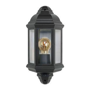Half Lantern Outdoor Wall Light with PIR Sensor - Black