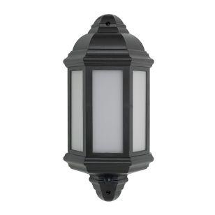 LED Half Lantern Outdoor Wall Light with PIR Sensor - Black