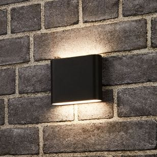 Searchlight Lichen LED Outdoor Up & Down Wall Light - Black