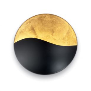 Dom Flush Wall Light - Black and Gold