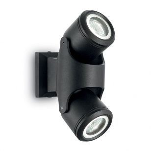 Raro Outdoor Wall Mounted Twin Spotlight - Black