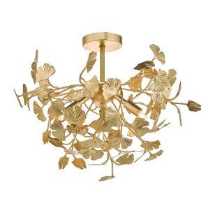 Dar Yadira Semi Flush Ceiling Light - Gold