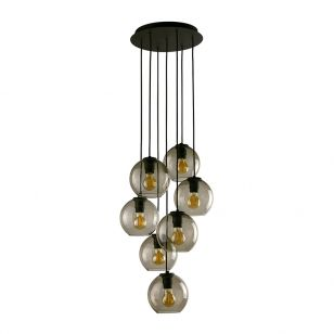 Edit Boule 7 Light Cascade Ceiling Pendant - Smoked Glass