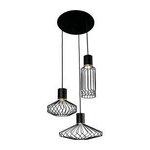Edit Edge 3 Light Cascade Ceiling Pendant - Black