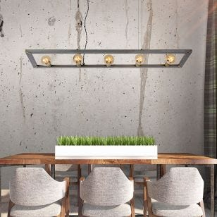 Lucide Thor 5 Light Bar Ceiling Pendant - Natural Iron