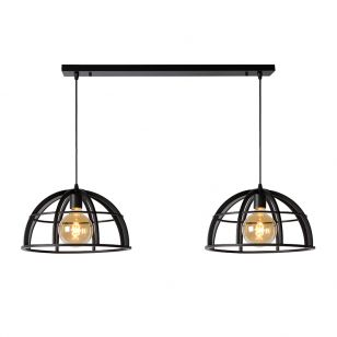 Lucide Dikra 2 Light Bar Ceiling Pendant - Black