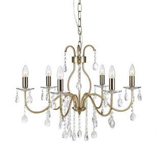 Mary 6 Light Chandelier - Antique Brass
