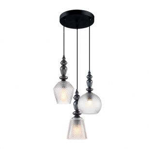 Edit Hirst 3 Light Glass Cascade Ceiling Pendant - Pewter