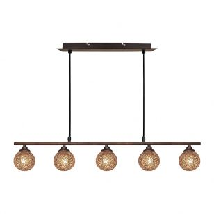 Edit Scroll 5 Bar Ceiling Pendant Light - Bronze