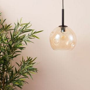 Edit Dimple Glass Ceiling Pendant Light - Amber