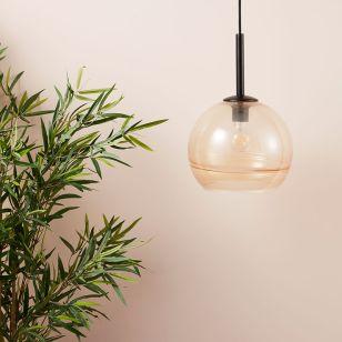 Edit Stripe Glass Ceiling Pendant Light - Amber