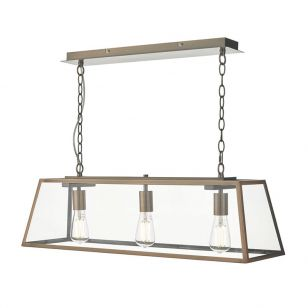 Dar Academy 3 Light Bar Ceiling Pendant - Antique Copper