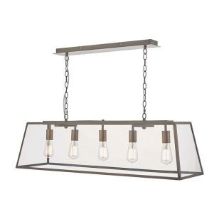 Dar Academy 5 Light Bar Ceiling Pendant - Antique Copper