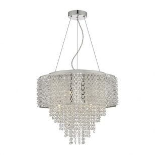 Dar Acelynn Crystal Chandelier - Polished Chrome