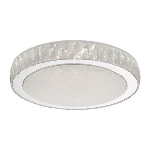 Dar Akelia Large LED Flush Ceiling Light - Polished Stainless Steel
