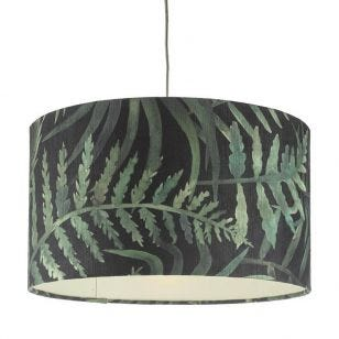 Dar Bamboo Large Ceiling Pendant Shade - Green Print