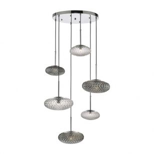 Dar Bibiana 6 Light Glass Cascade Ceiling Pendant - Clear & Smoked