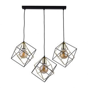 Edit Layer 3 Light Bar Ceiling Pendant - Black & Gold