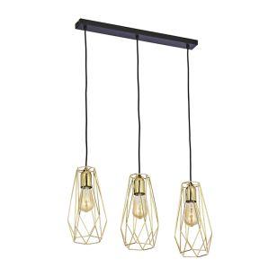 Edit Wire 3 Light Bar Ceiling Pendant - Black & Gold