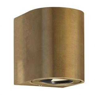 DFTP Canto Warm White LED Outdoor Up & Down Wall Light - Brass