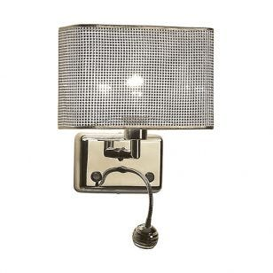 Edit Glam Wall Light with LED Reading Light - Silver
