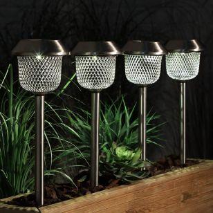 365 Mesh Solar LED Stake Lights - Stainless Steel - Pack of 4