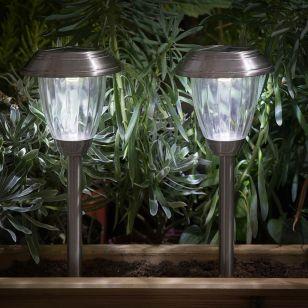 365 Lantern Solar LED Stake Lights - Stainless Steel - Pack of 2