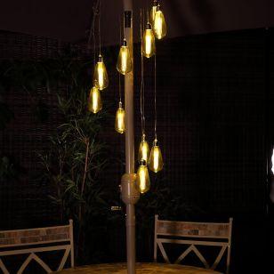 Filament Battery Operated LED Festoon Spiral Chandelier - 10 Lights