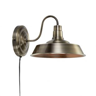 Grimsby Wall Light with Plug - Antique Gold
