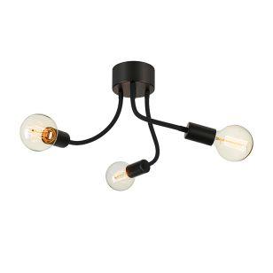 Medusa 3 Arm Semi-Flush Ceiling Light - Black