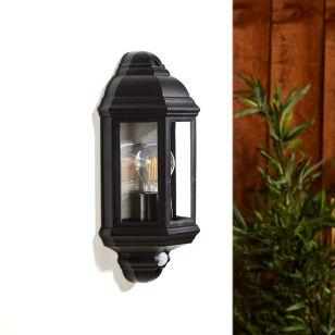 Edit Coastal Newquay Half Lantern Outdoor Wall Light with PIR Sensor - Black