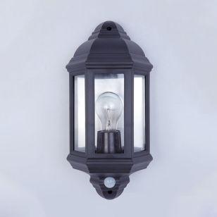 Edit Coastal Newquay Half Lantern Outdoor Wall Light with Dusk to Dawn Sensor - Black