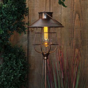 365 Industrial Lantern Solar LED Stake Light - Copper