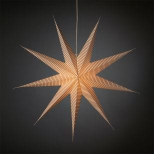 Konstsmide Hanging Paper Star Light with Plug - White & Silver