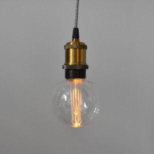 Edit Vintage Battery Operated LED Lightbulb Pendant Lamp Holder - Globe