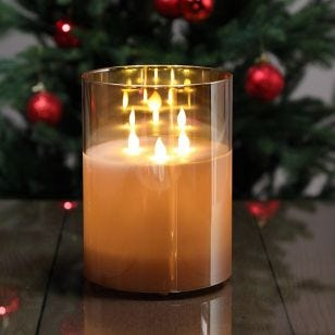 Edit Glow Battery Operated LED Glass 3 Wick Flame Candle - 200mm
