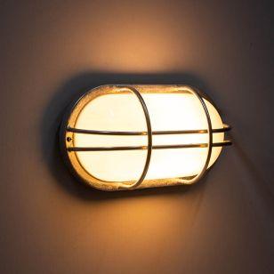 Edit Coastal Fjord Oval Outdoor Flush Wall Light - Galvanised Steel