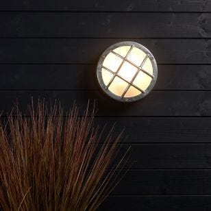Edit Coastal Fjord Round Outdoor Flush Wall Light - Galvanised Steel