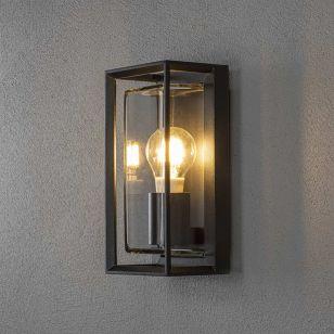 Konstsmide Brindisi Half Lantern Outdoor Wall Light - Black