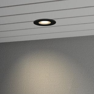 Konstsmide High Power LED Soffit Recessed Fixed Down Light - Black