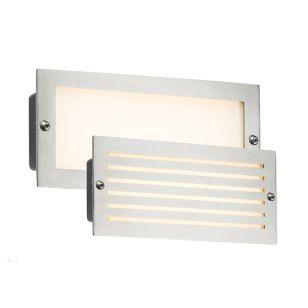 Oblong LED Outdoor Recessed Brick Light - Brushed Steel