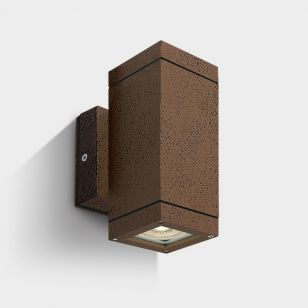 Cylinder Square Outdoor Up & Down Wall Light - Rust Brown